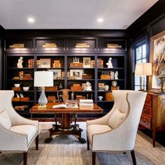 Navy library/office in the Southern Living Showcase Home by Hatcliff Construction Nice 43 Extraordinary Small Home Office Design Ideas With Traditional Themes. Interior Design, Home Library, Office Interiors, Home, Interior, Home Office Decor, Southern Living, Home Decor, Office Design