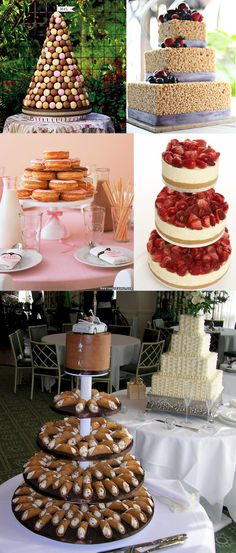 Alternatives to wedding cakes-Not a cake lover? Skip the traditional wedding dessert and go with what you really want! Maybe a rice krispie cake, a macaroon tower, a doughnut cake, strawberry covered cheesecake, or a multi-tiered cannoli platter.