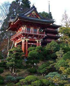 Temple Gate in Japanese Tea Garden Japanese Shrine, Japanese Castle, Japanese Temple, Japanese Art, Japan Architecture, Ancient Architecture, Architecture Details, Japanese Buildings, Modern Buildings