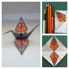 "#133 ""Monarch"" crane  #origami #origamiart #origamiproject #paperart #paperfolding #papercraft #senbazuru #tsuru #1000cranes #365project #drawing #butterfly #monarch #dailyart #instaart #orange #handdrawn #collage #entomology #artproject #cratfsposure"