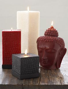 Blissliving Home Buddha Head Candle and Square Pillar Candles