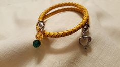 Yellow Twisted Leather and Swarovski ™ Crystal Wrap Bracelet - NDSU Bison