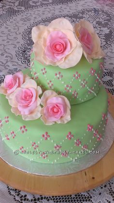 Spring Roses Cake for an 80th Birthday Party... This website is the Pinterest of birthday cake ideas