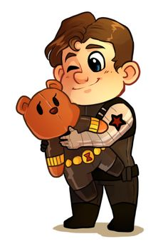chibi Bucky Barnes holding a Natasha Bear fanart by zombietonbo