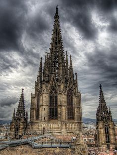 the Steeple of the  Gothic Cathedral in Barcelona