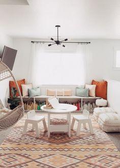 Bright White And Open Playroom With Boho Feel Bookshelf BenchBookshelvesKids