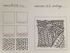 Seedings. Tangle Pattern and Example by Damy.