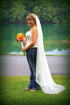 Blue jean wedding Blue Jean Wedding, Jeans Wedding, 50th, Bell Bottoms, Blue Jeans, Bell Bottom Jeans, Wedding Dresses, Pants, Fashion