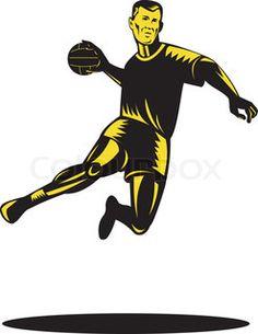 Handball Player Jumping Retro