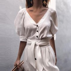 V Neck Belt Puff Sleeve Button Casual Vacation Dress , Moda Dress For Summer, Casual Summer Dresses, Summer Dresses For Women, Sexy Dresses, Dress Outfits, Fashion Outfits, Elegant Dresses, Womens Fashion, Dress Fashion