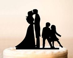 Bride and Groom Silhouette with Two Girl Family Wedding Cake Topper ...