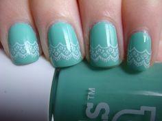 Pretty on Pinterest  by chelstastic, via Flickr. Mint, white, lace, nailpolish