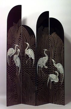 Asian Chinese style (20th Cent) black coromandel 4 fold screen with heron design and 4 graduated tier panels