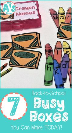 These back-to-school busy boxes are ready to print, cut, and use! Your preschool and kindergarten kids will love these 7 activities! Name Activities Preschool, Kindergarten Themes, Preschool Classroom, Classroom Ideas, Educational Activities, Circus Classroom, Kindergarten Readiness, Children Activities, Preschool Printables