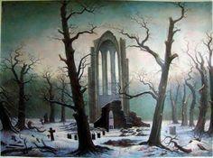 Friedrich 1819 cimetiére de monastére dans la neige