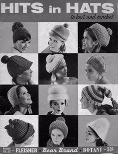 Bear Brand 92 Hits in Hats Knitting Crochet Patterns Beret Stocking Cap 1965 #BearBrandFleisherBotany #KnittingCrochetPatterns