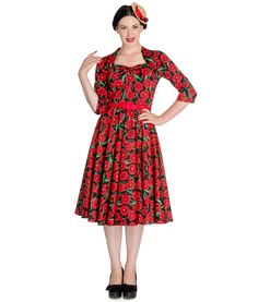 Hell Bunny 50's Poppy Floral Vintage Style Dress: Amazon.co.uk: Clothing