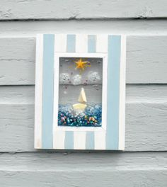 Cottage Chic Sailboat Glass Art Whimsical Beach Art by LookandSea,