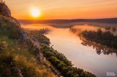 Рассвет на реке Сылве. Вид с Греховской горы. Пермский край. Кунгурский район.
