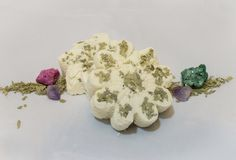 "Discover a world of relaxation.  Let my luxury bath bombs melt your stress away.  Each bomb is carefully crafted in small batches.  Nothing is mass produced....EVER.      Da Mint-Eucalyptus Bath Bomb has :    *Real dried eucalyptus leaves in every bomb to ""up da ante.""     *There is also a surprise to discover inside da bath bomb!  Each bomb has a real natural stone that is pre-drilled to create your own artistic masterpiece! If you are ordering more than one bath bomb, please include if you…"