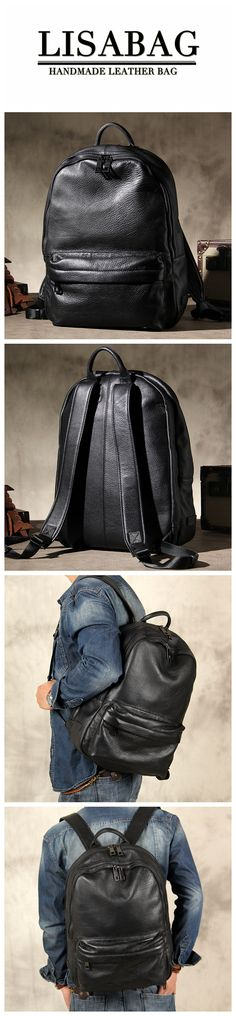 Handmade Black Leather Backpack for School or College Unisex Laptop Backpack  YS07 Photography Bags, Black 41c946236a
