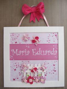 Enfeite de Porta Maternidade Borboleta | Fuxicando - Arte | 2EBB61 - Elo7
