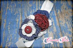 Navy blue white Maroon Headband Hair Accessories by CrowningPetals, $16.25