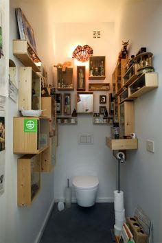 vitrinekastjes uit wijnkistjes ed Crates, Amsterdam, Rooms, Bar, Interior Design, Bathroom, Happy, House, Ideas