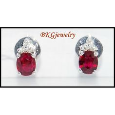 Diamond 18K White Gold Genuine Stud Gemstone Ruby by BKGjewels
