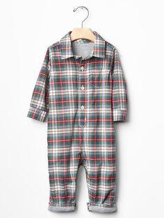 Plaid flannel one-piece