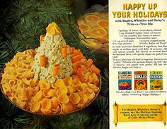 Retro Holiday Dip - 1967  1 pkg. (8 oz.) cream cheese, softened 1 cup shredded Cheddar cheese (4 oz.) 1/2 cup crumbled blue cheese (2 oz.) 1 tbsp. Worcestershire sauce 1/4 cup minced onions 1 tsp. chopped parsley Few strips of pimiento  In small mixer bowl, blend first 5 ingredients; beat thoroughly at medium speed until fluffy. If necessary, chill until mixture mounds. Pile mixture on inverted 5-inch flat-bottomed bowl, with spatula, shape into a peaked tree.