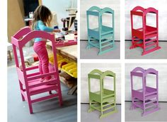 DIY- The Little Helper Tower~ Kids can help cook w/o the worry of falling off of a chair and it folds flat - Tutorial Diy For Kids, Cool Kids, Crafts For Kids, Diy Crafts, Montessori Baby, Do It Yourself Furniture, Diy Furniture, Gabby Furniture, Children Furniture