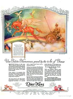 Willy Pogany Fairy Riding a Chariot Vintage Advertisements, Vintage Ads, Vintage World Maps, Kiss Cosmetics, Propaganda Art, Graphic Design Art, Vintage Beauty, Illustration Art, Illustrations
