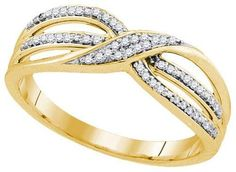 10K Yellow-gold 0.11CTW DIAMOND FASHION BAND
