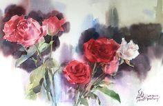 Watana Kreetong Open air painting Roses/2016 38x56cm