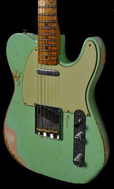 Wild West Guitars : Fender 1956 Telecaster Heavy Relic Surf Green over Shell Pink -The Jawbreaker