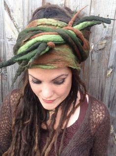 Previous pinner: The 'Camo Chameleon' Felted Dread Wrap Gypsy Headscarf, Felted Turban with Felt…