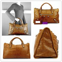 BALENCIAGA Giant Work brown colour lambskin with giant stud very good conditions ref.code-(UEOO-5)