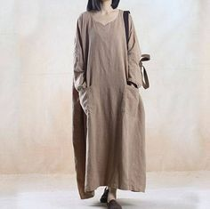 Plus Size Linen Loose Fitting Maxi Dress Spring And Fall Clothing