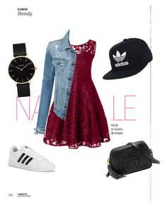 """Untitled #10"" by gabrielle-reznik ❤ liked on Polyvore featuring beauty, LE3NO, adidas, Gucci and CLUSE"
