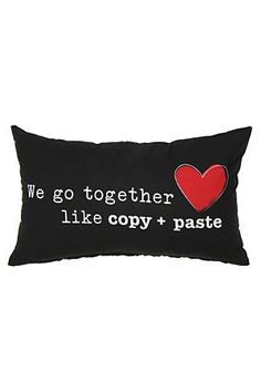 "The Copy and Paste Cushion is a fun way to add colour and script detail to any room. Measures 30x50cm.<div class=""pdpDescContent""><BR /><b class=""pdpDesc"">Dimensions:</b><BR />L50xH30 cm<BR /><BR /><b class=""pdpDesc"">Fabric Content:</b><BR />55% Polyester 45% Cotton<BR /><BR /><b class=""pdpDesc"">Wash Care:</b><BR>Lukewarm machine wash</div>"