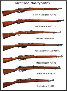 Infantry Rifles of The Great War Military Weapons, Weapons Guns, Guns And Ammo, Ps Wallpaper, Battle Rifle, Bolt Action Rifle, Steyr, Hunting Guns, Cool Guns