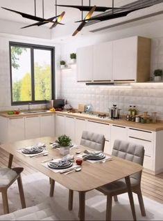 Kitchen Room Design, Modern Kitchen Design, Home Decor Kitchen, Interior Design Kitchen, Home Kitchens, Kitchen With Living Room, U Shape Kitchen, Very Small Kitchen Design, Small Kitchen Furniture