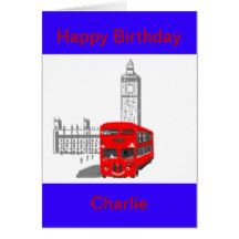 A smiling London Bus, Birthday, customize Card