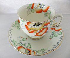 Vintage tea cup and saucer - Royal Albert Crown China, Poppyland