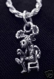 2439 Moose drinking coffee tea cup charm 3D Silver Sterling Silver 925 Jewelry