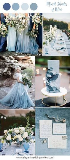 Romantic mixed shades of blue beach wedding inspiration for 2018 trends