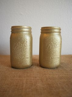 2 Gold Glitter Mason Jars. Home Decor or Dorm by BlusteryCharm, $18.00