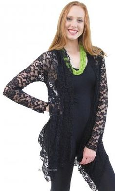 Harmony Vintage Lace Open Cardigan In Black