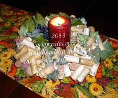 Wine Cork wreath/table centerpiece by Corkycrafts on Etsy, $35.00 #xmas #candle #gifts